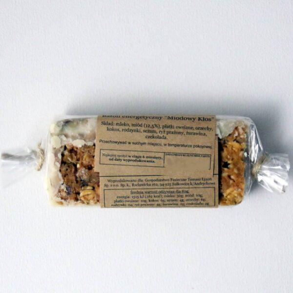 Baton energetyczny z miodem Miodowy Kłos w białej czekoladzie 80 g