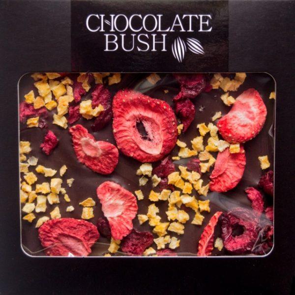 Czekolada gorzka BEZ CUKRU z truskawkami, brzoskwinią i wiśniami słodzona ksylitolem 80g
