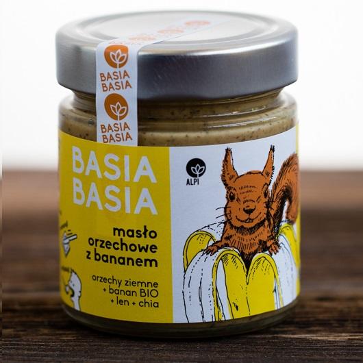 Masło orzechowe z bananem, lnem i nasionami chia Basia Basia 210g