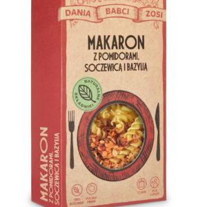 Makaron z pomidorami, soczewicą i bazylią