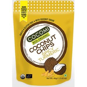 Chipsy kokosowe pikantne z kurkumą prażone bezglutenowe BIO 40g