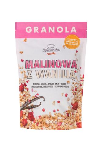 Granola malinowa z wanilią (bez dodatku cukru) 400g