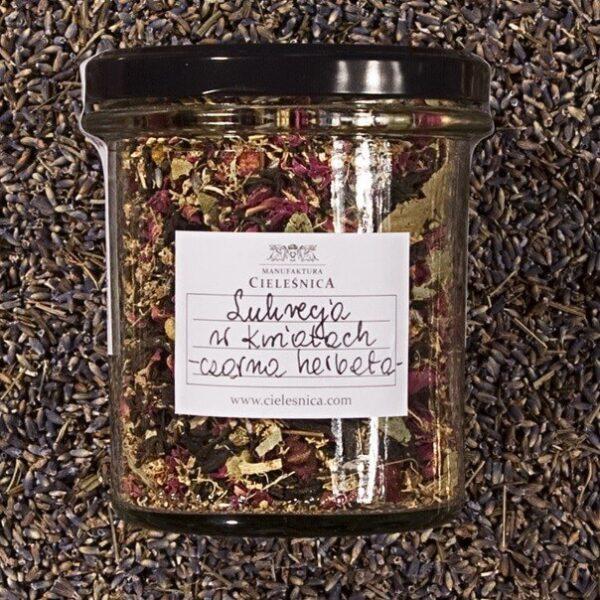 Czarna herbata lukrecja w kwiatach 60g